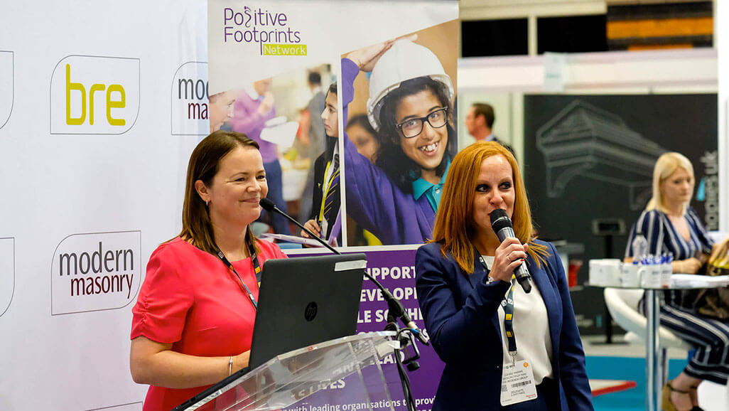 Photo of Lesley Burrrows talking about Positive Footprints at the Chartered Institute of Housing event in 2018