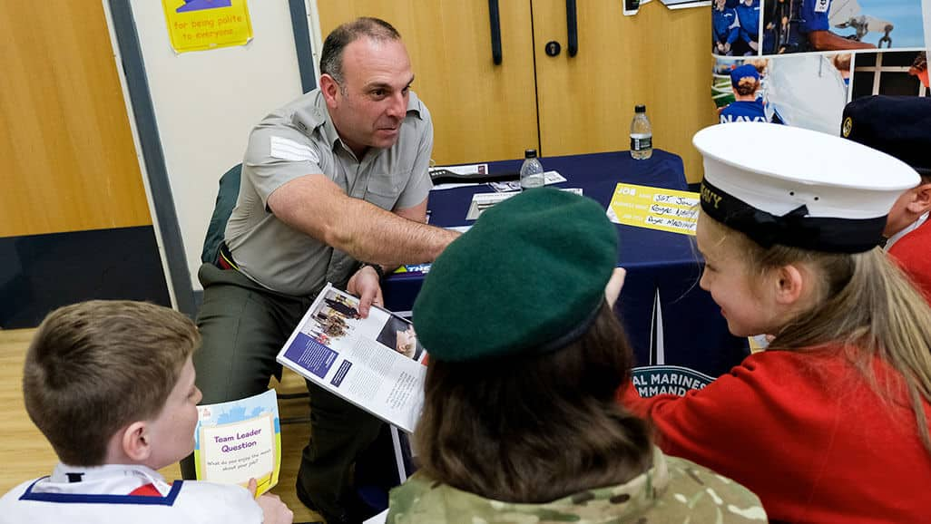Photo of the navy talking to children from career carousel in the raising aspiration programme