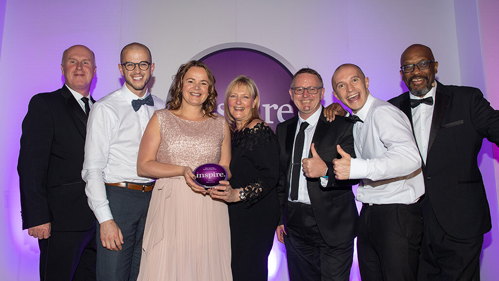 Photo taken by credit UKBE and Paul Greenwood Photography of Positive Footprints winning the Inspire award 2019